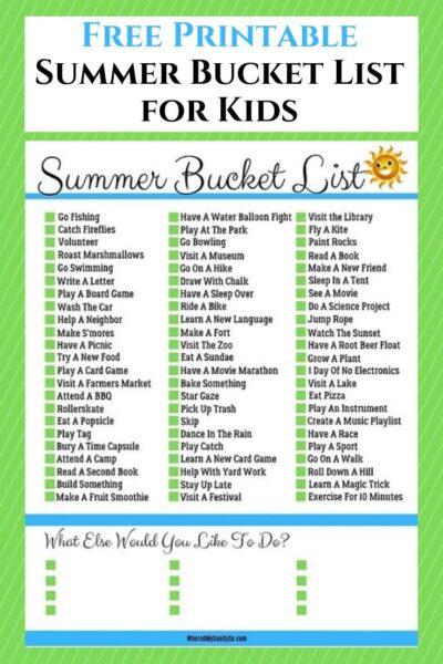 Printable Summer Bucket List for Kids