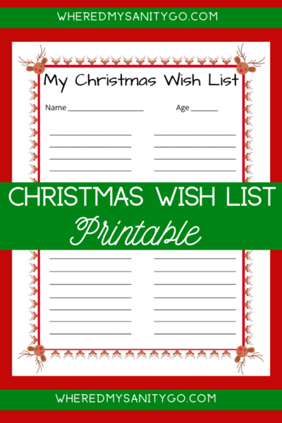 Reindeer Christmas Wish List