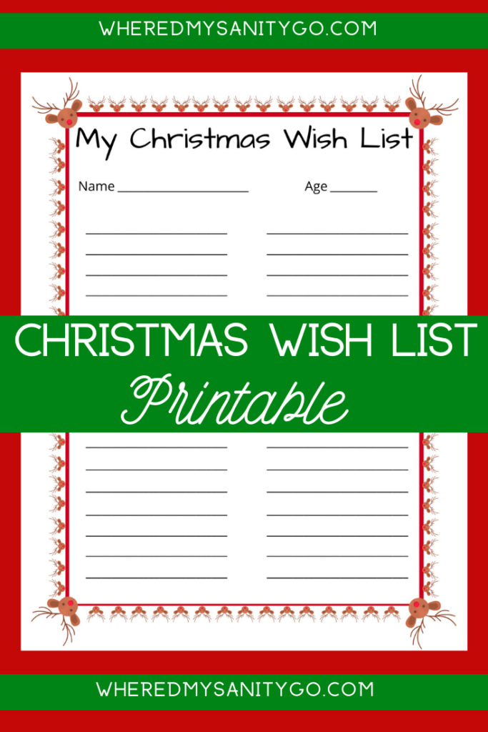 Christmas Wish List Printable for Kids