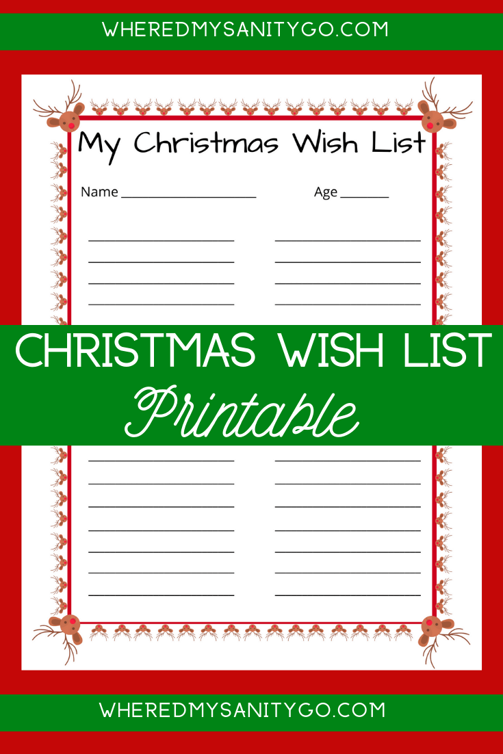 Christmas Wish List Printable for Kids Free Download