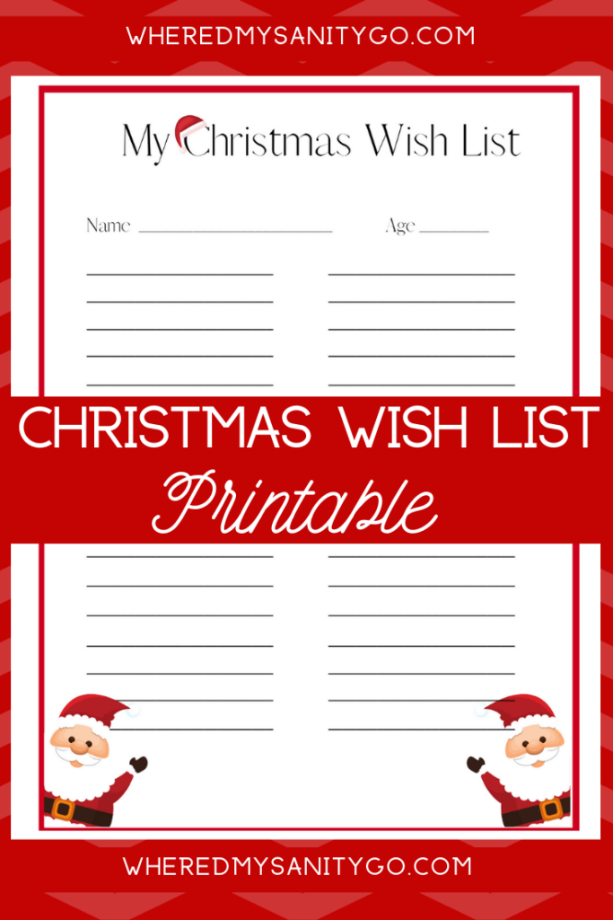 Free Santa Christmas Wish List Printable for Kids!