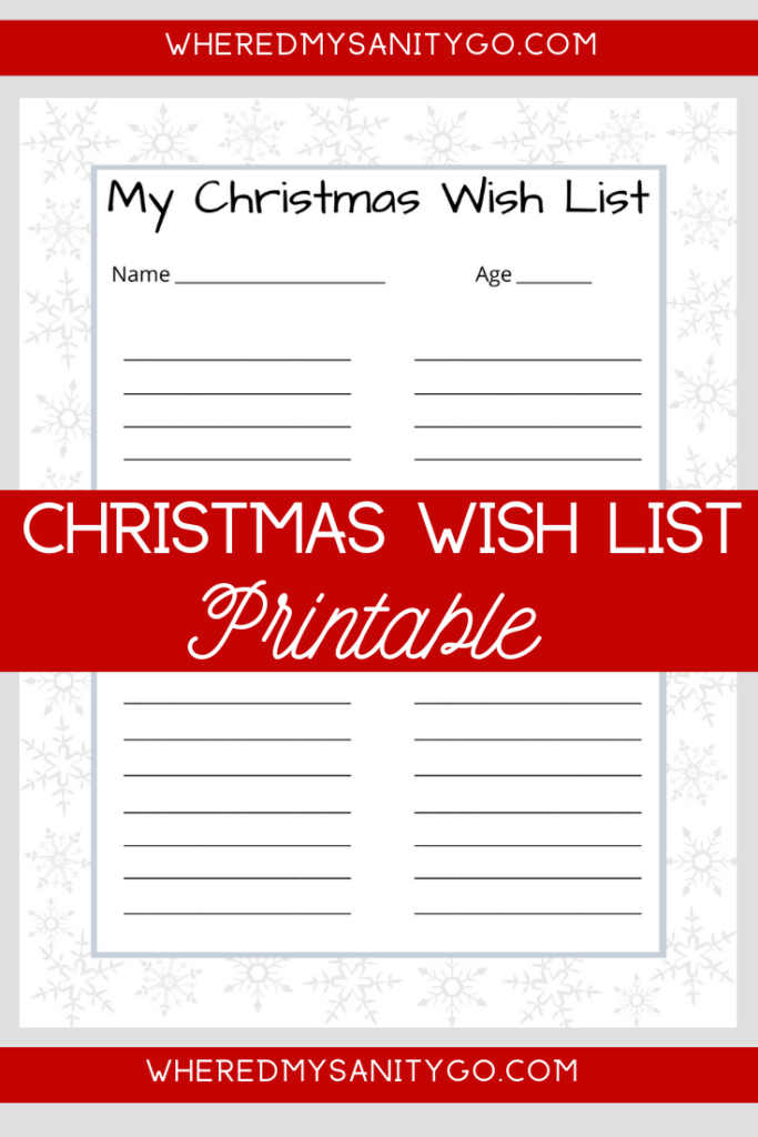 Free Christmas Wish List Printable for Kids!