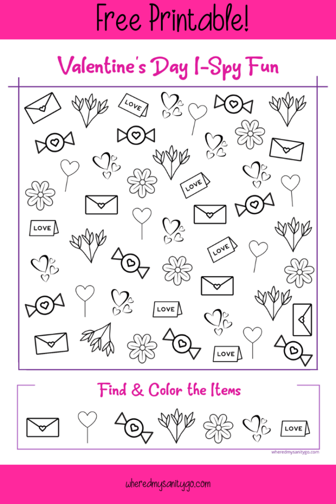 Valentines Day I Spy Printable
