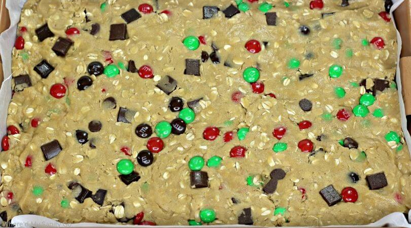 M&M Cookie Bars with Oatmeal and Chocolate Chips