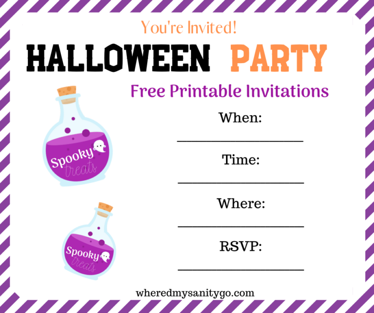 Halloween Invitations and Treat Bag Tags - Free Printable For Parties