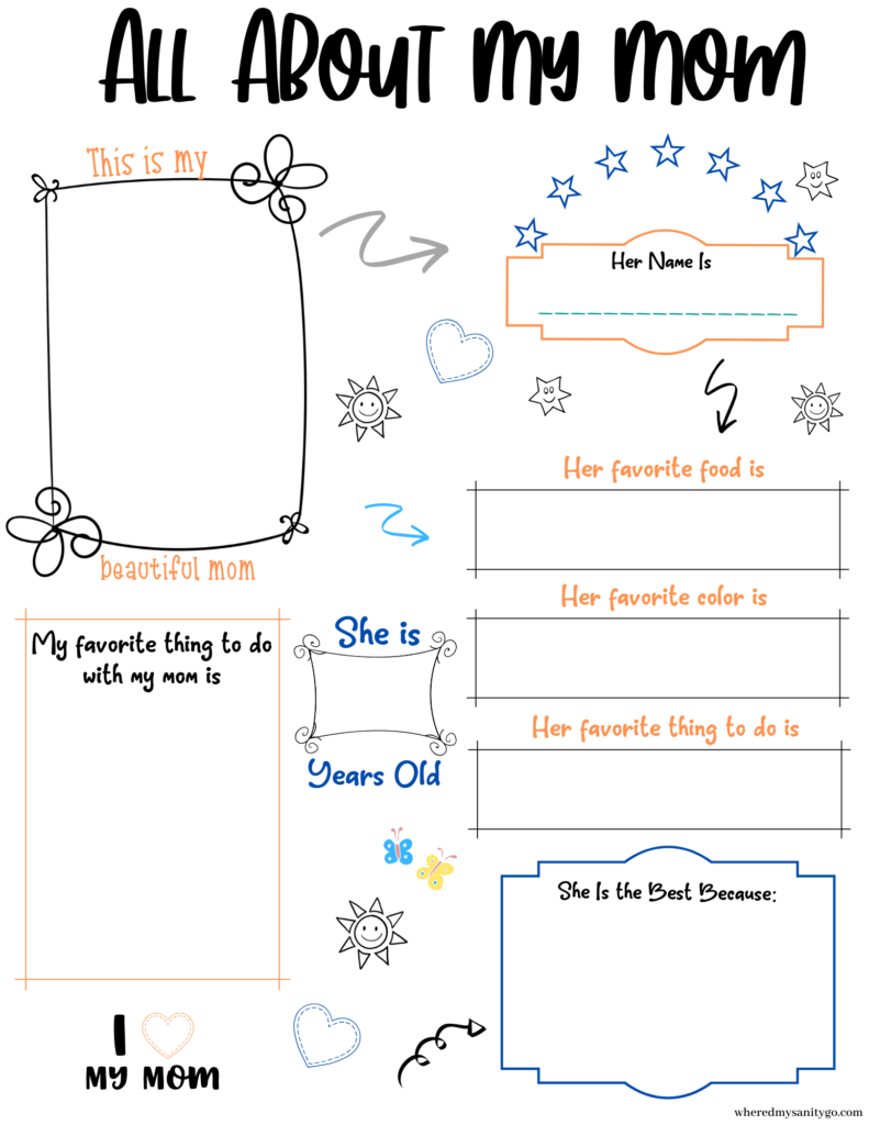 All About My Mom Printable