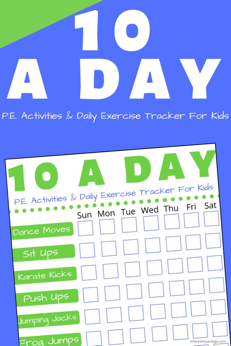 P.E. For Kids (Daily Exercise Ideas) + 10 A Day Challenge Printable Tacker