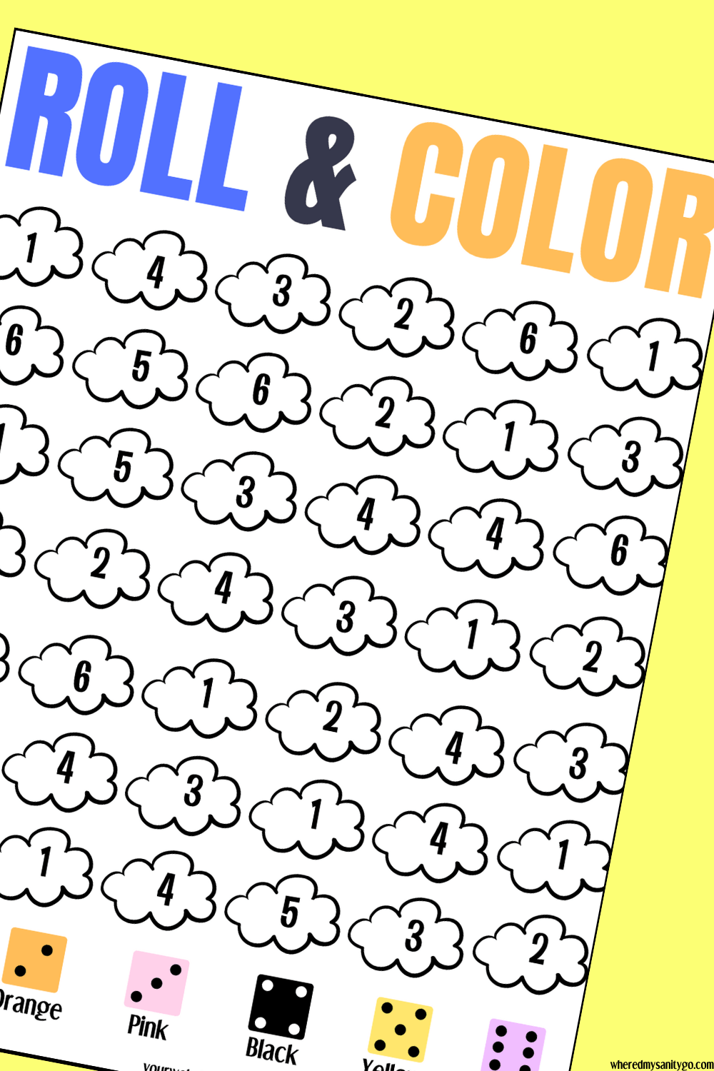 Roll the Dice & Color the Number Game