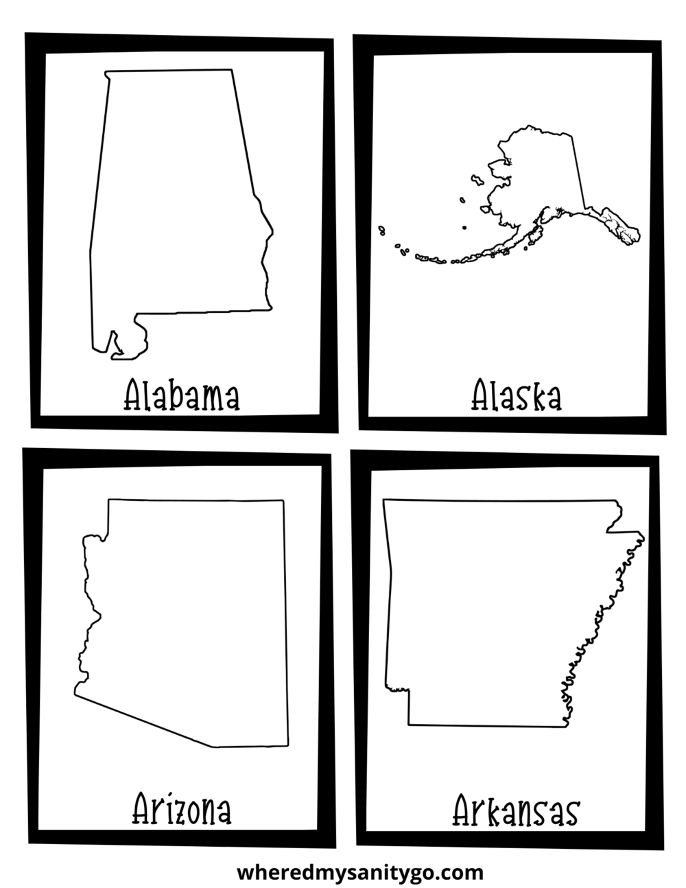 50 States Flashcards Free Printable For Learning The Us Map
