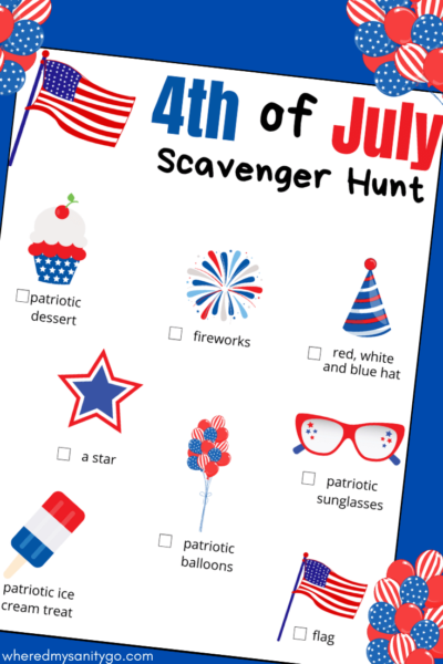 4th of July Scavenger Hunt Printable Game for Kids