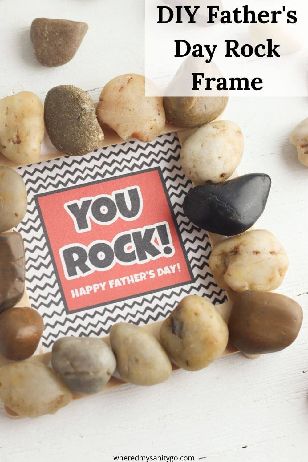 DIY Fathers Day Rock Frame Gift