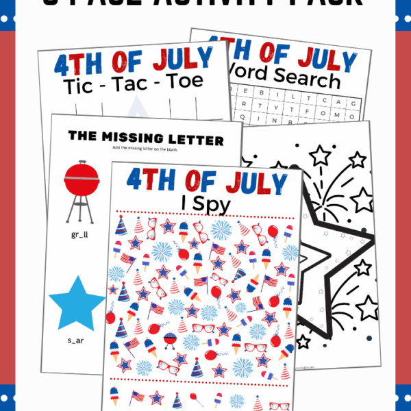 4th of July Party Games Printable Activity Worksheets