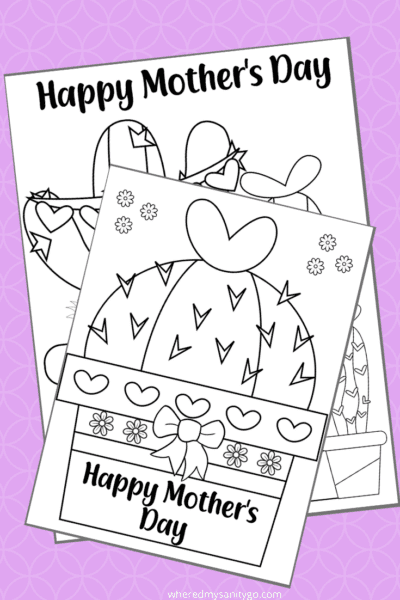 Free Printable Mothers Day Cactus Coloring Pages
