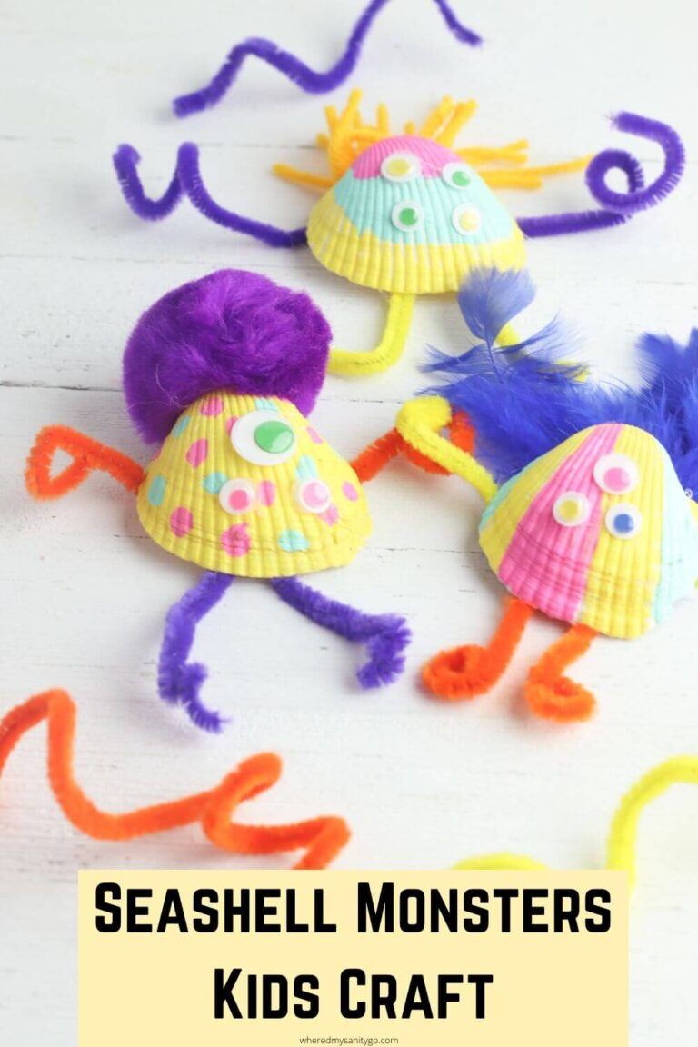Kids Monster Craft with Seashells (Cute Monster Seashell Craft)