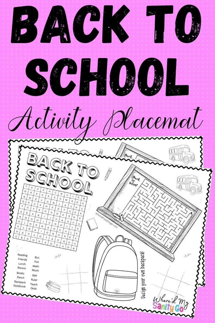 Back to School Placemat Printable Activity for Kids