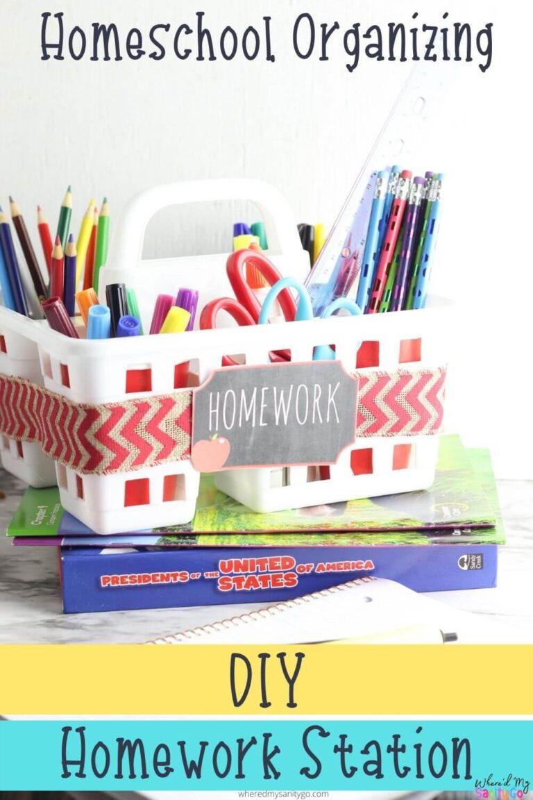 Dollar Tree Homework Station for Homeschool Organization School Supplies