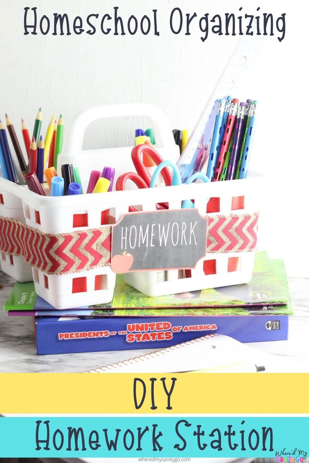 Dollar Tree Homework Station for Homeschool Organization School Supplies