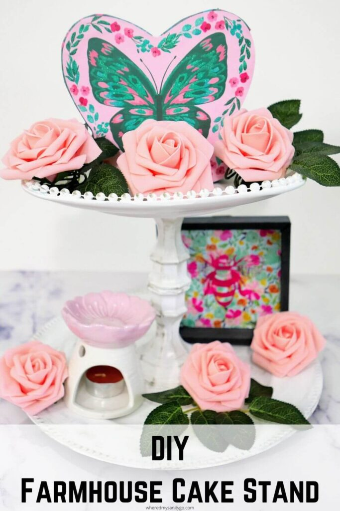 DIY 2 Tiered Farmhouse Cake Stand Pink Butterfly Rose Tray