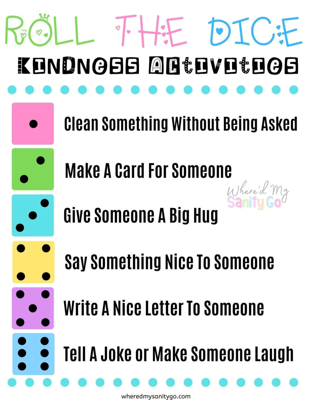 Roll the Dice Kindness Activities for Kids Printable