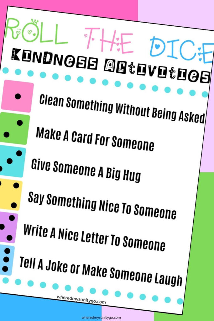 Roll the Dice Printabe Act of Kindness Activities Game