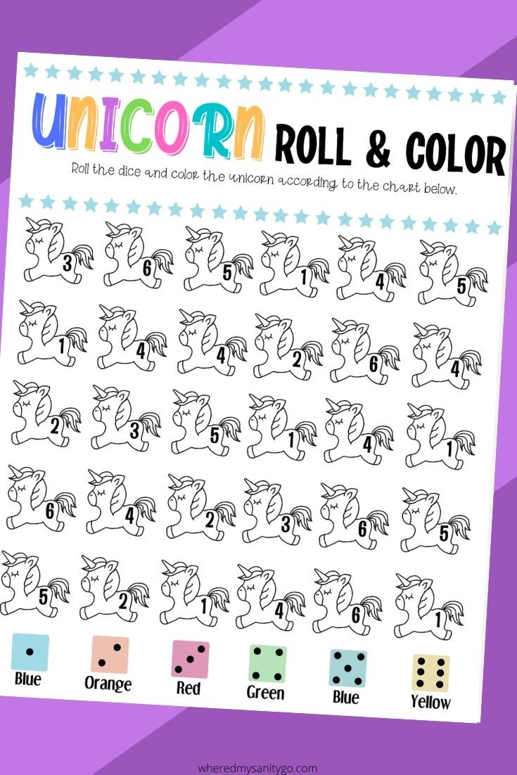 Unicorn Roll & Color Game