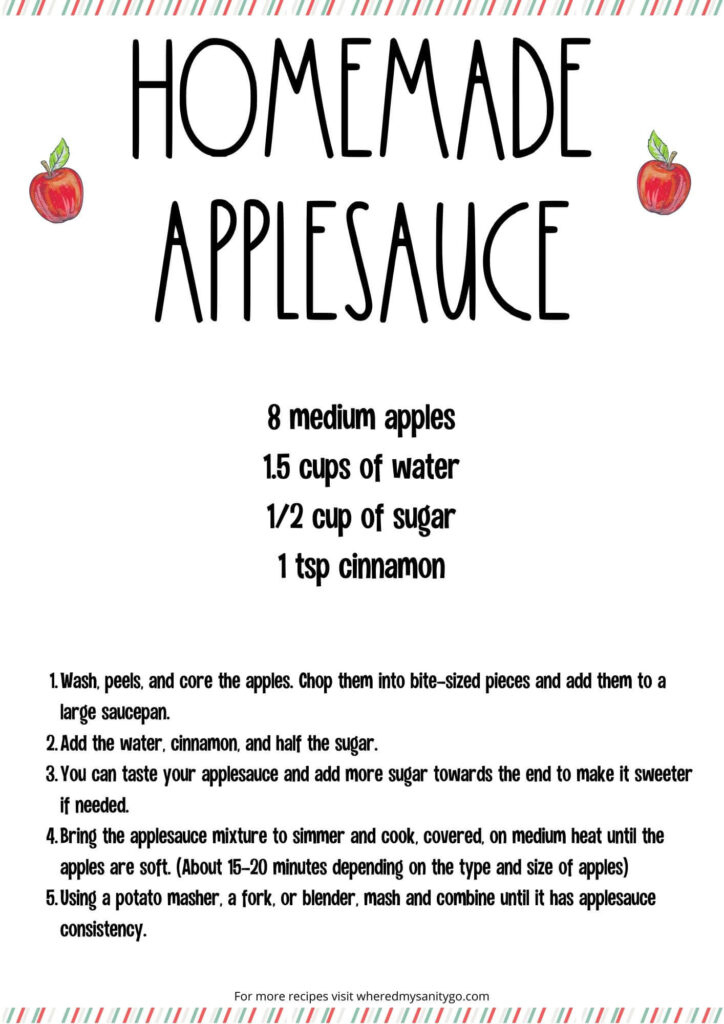 Easy Homemade Applesauce Recipe Card