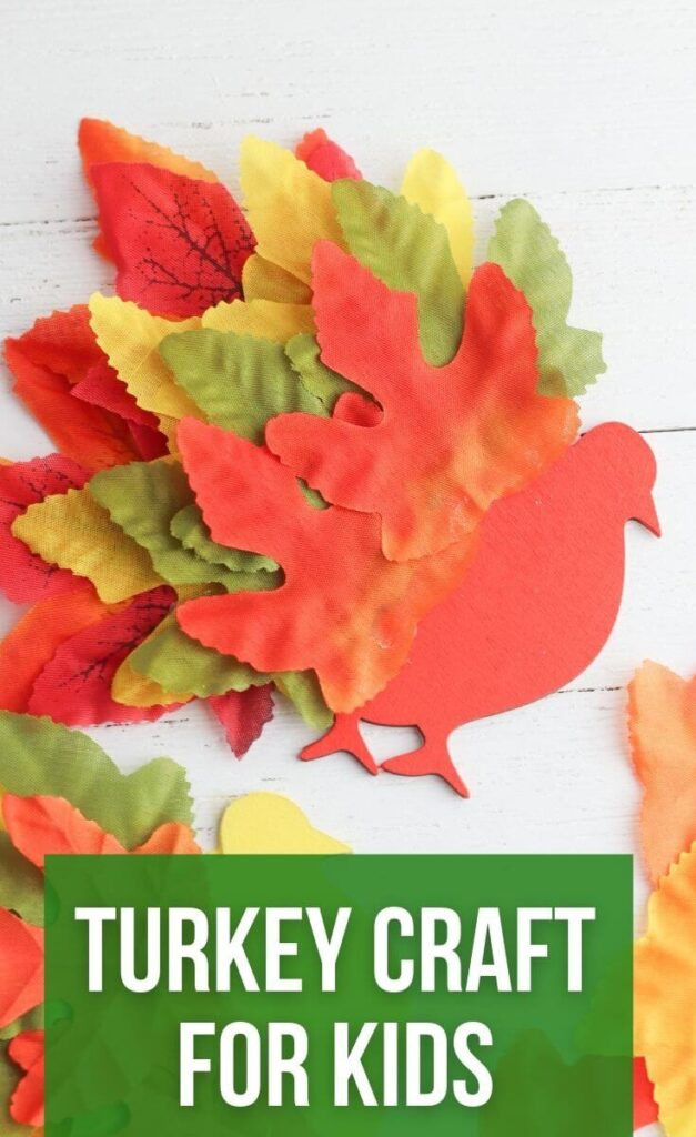 Easy Turkey Leaf Craft for Kids Made with Fall Leaves