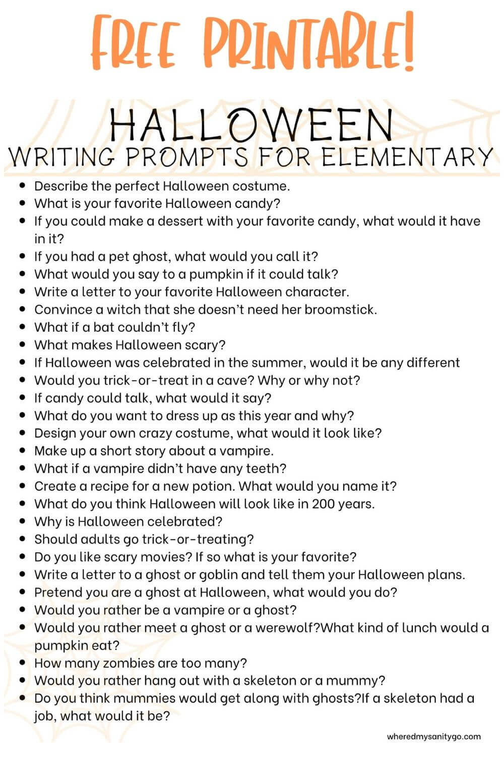 Halloween Writing Prompts for Elementary That Are Spooky and Fun Free Printable