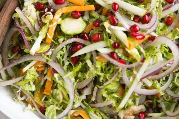Shredded Brussels Sprout Persimmon Salad