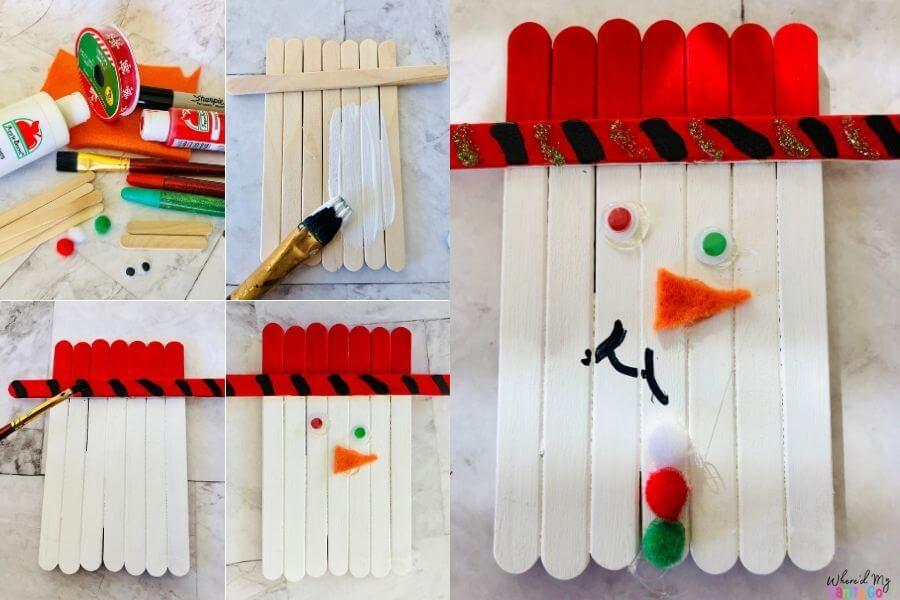 Popsicle Stick Snowman Craft