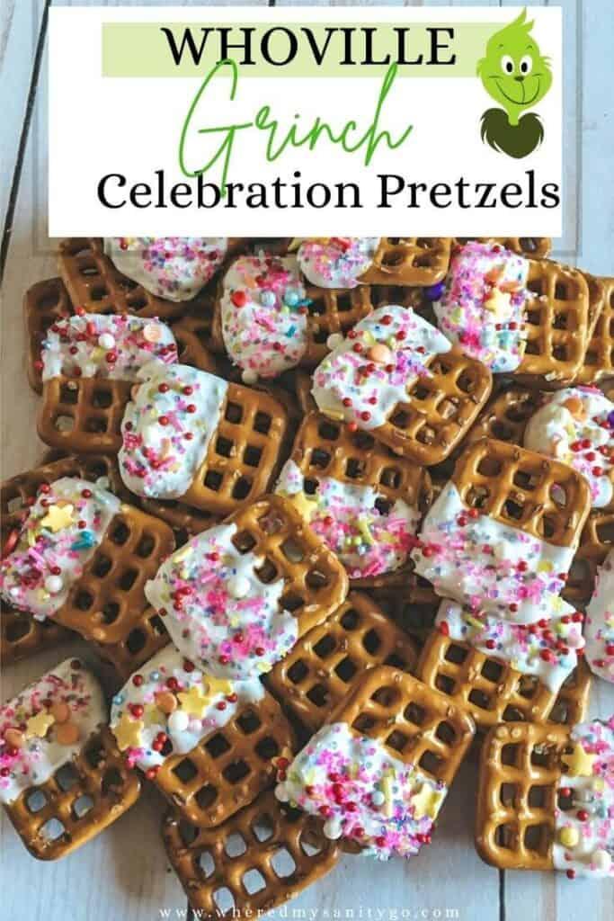 Whoville Grinch Pretzel Bites White Chocolate Dipped Pretzels