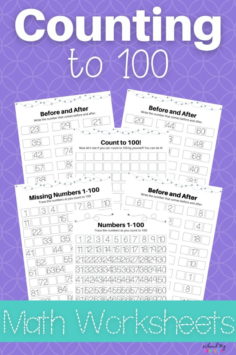 Counting to 100 Worksheets and 100 Chart for Homeschool
