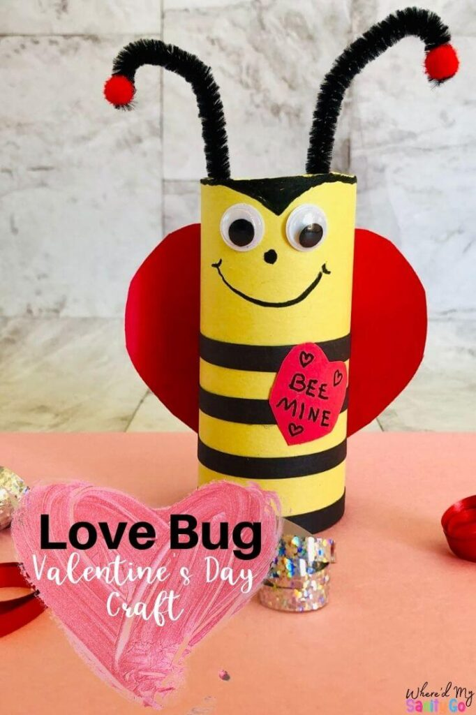 "You can easily make the love bug into a cute Valentine's Day craft like we did above! Simply cut a small heart shape out of the construction paper. Write a special message on it for Valentine's Day. For this bee, we wrote ""Bee Mine"" on the heart. Glue the heart to the bee."