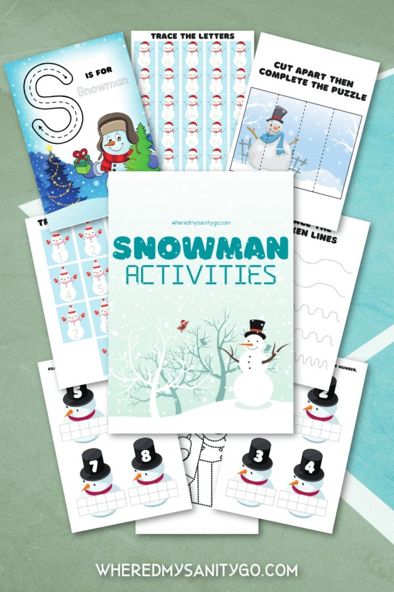 Preschool Snowman Printable Activity Packet for  Math Tracing Writing