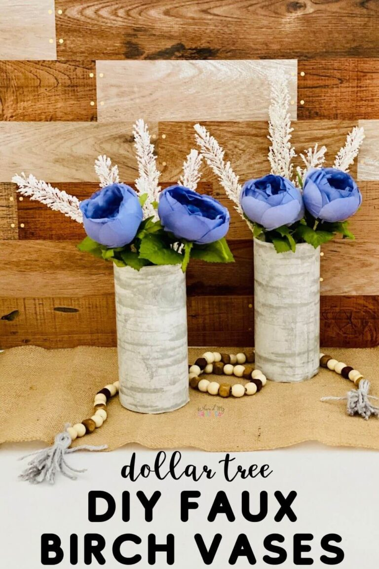 DIY Faux Birch Vases from Dollar Tree Supplies