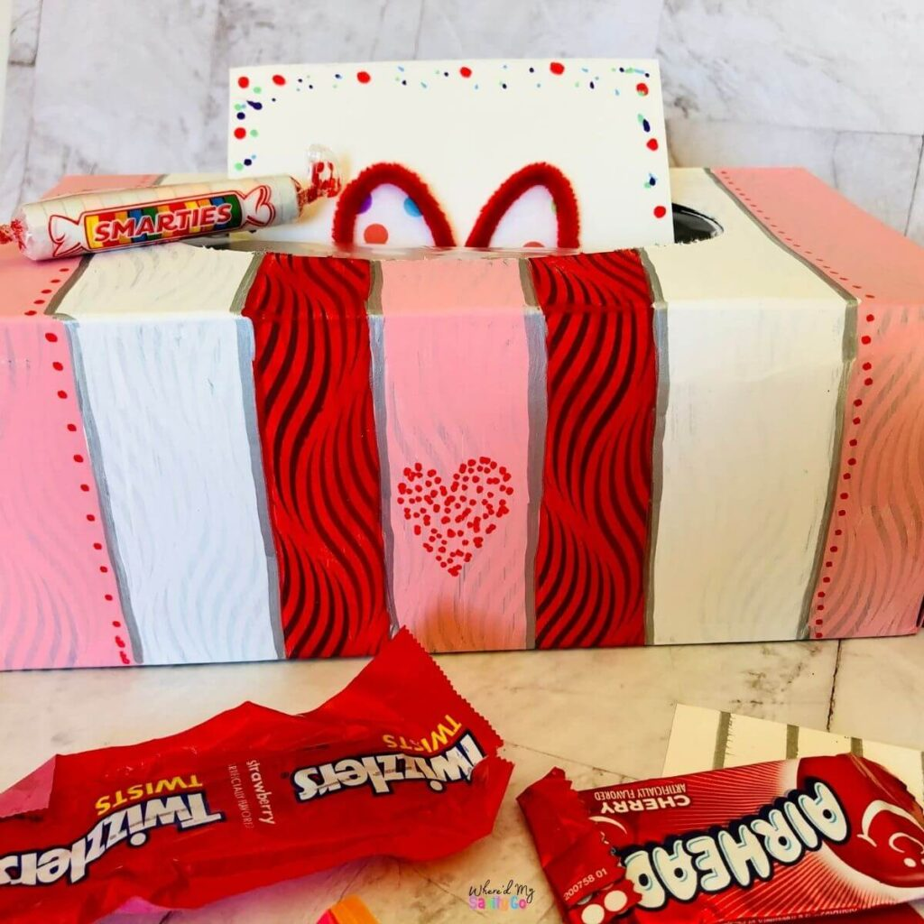Easy Striped Valentines Box for School