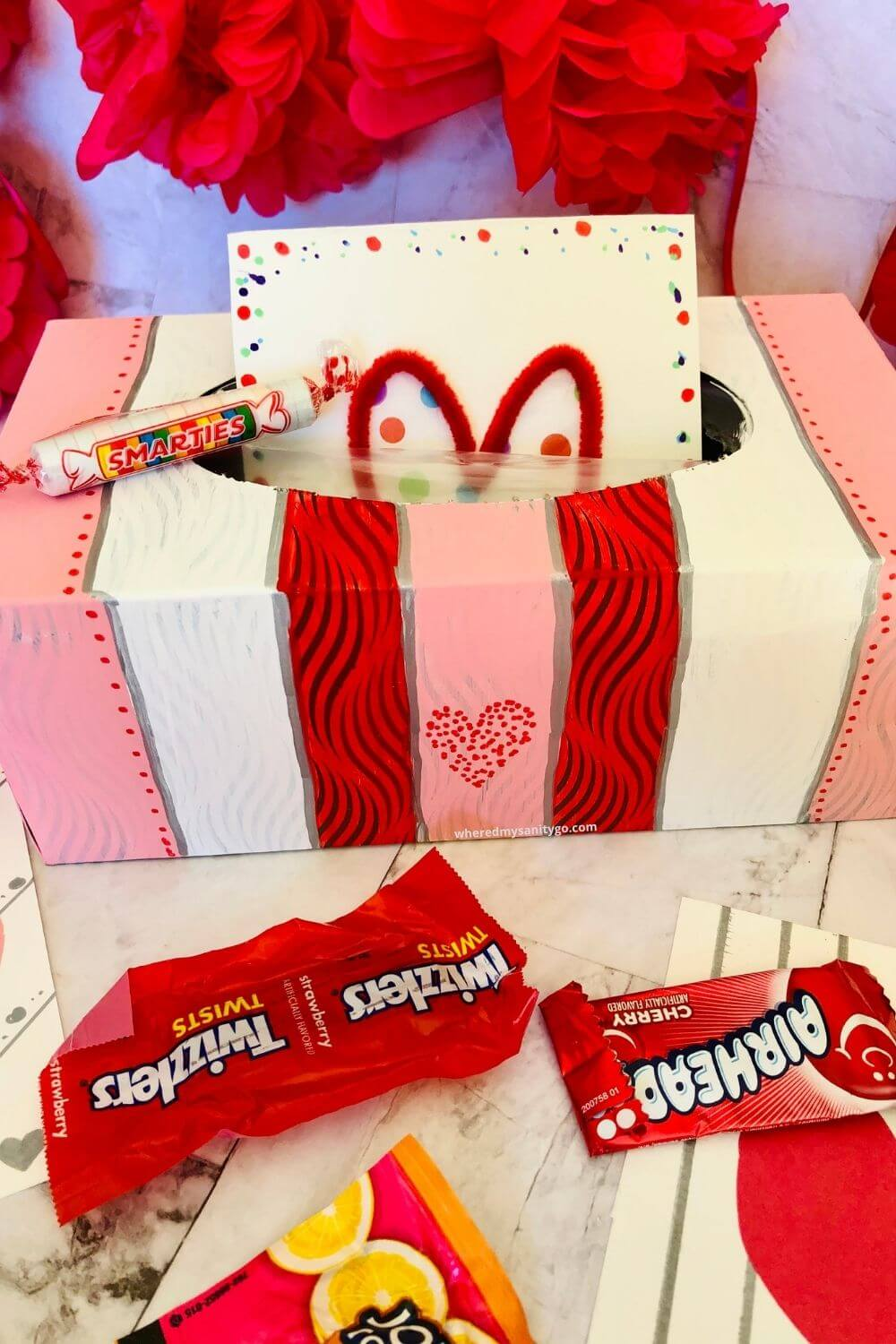Easy Striped Valentines Box for School