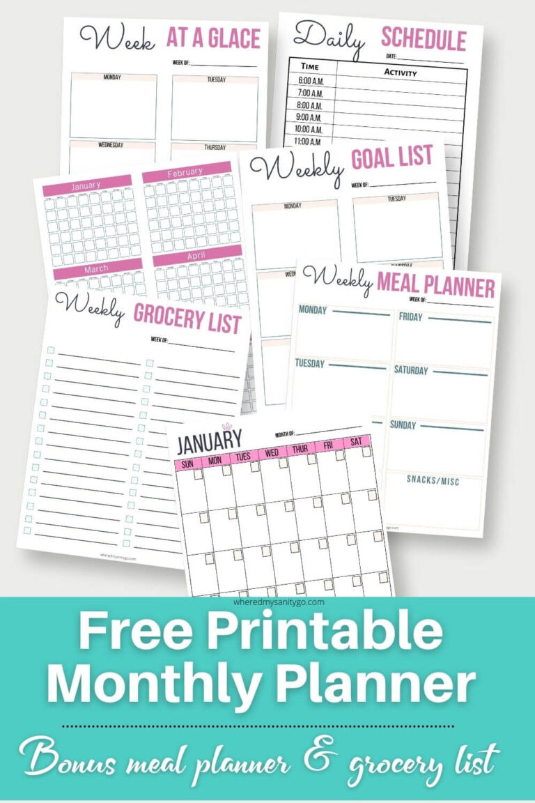 Free Printable Monthly Planner Bonus Meal Planner