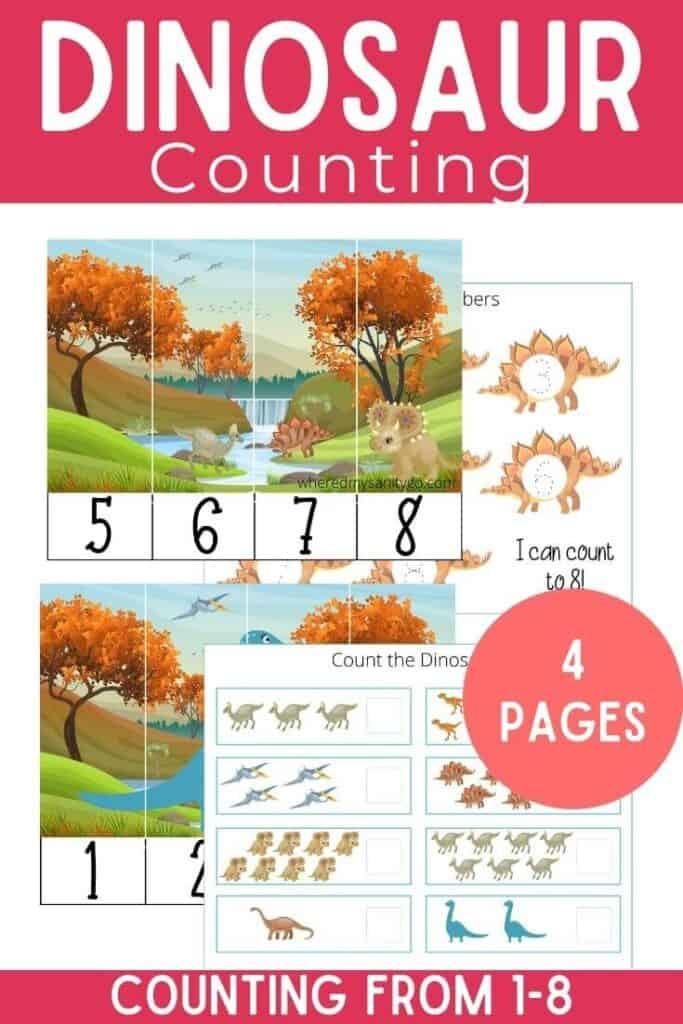 Preschool Dinosaur Counting Worksheets