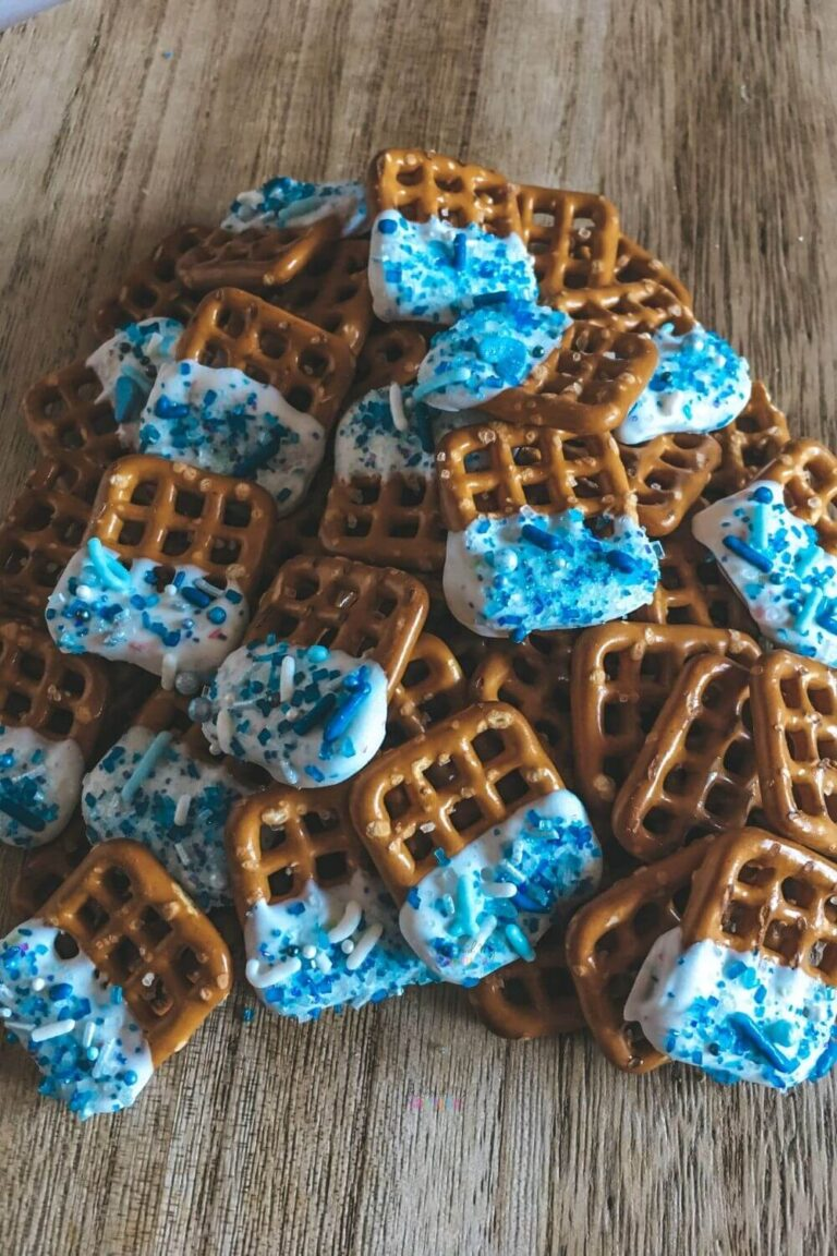 White Chocolate Dipped Pretzels with Blue Sprinkles