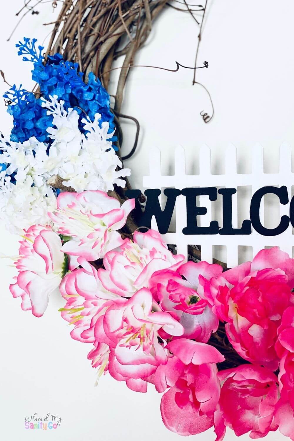 DIY Spring Floral Wreath with Welcome Sign