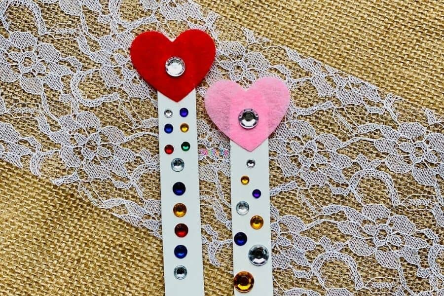 Heart Bookmark Popsicle Stick Reading Wands for Kids
