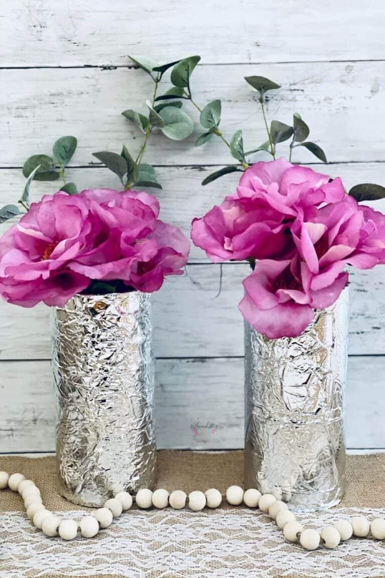 Mod Podge Tissue Paper Vases Coastal Home Table Decor