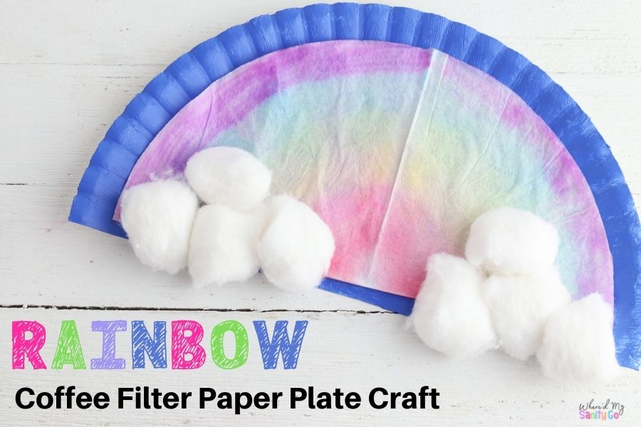 Rainbow Coffee Filter Craft For Kids Easy Weather Spring Activity