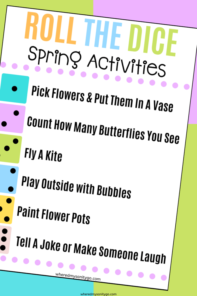 Roll the Dice Spring Activities for Kids Free Printable Game