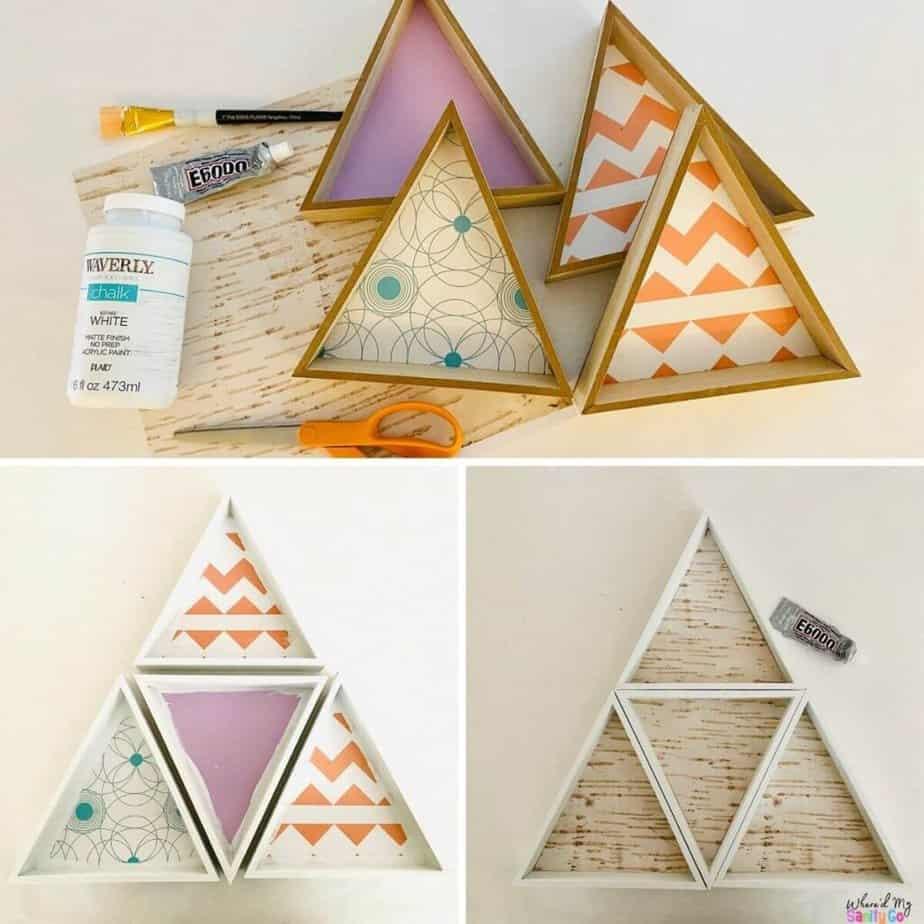 DIY Triangle Wooden Shelf Process