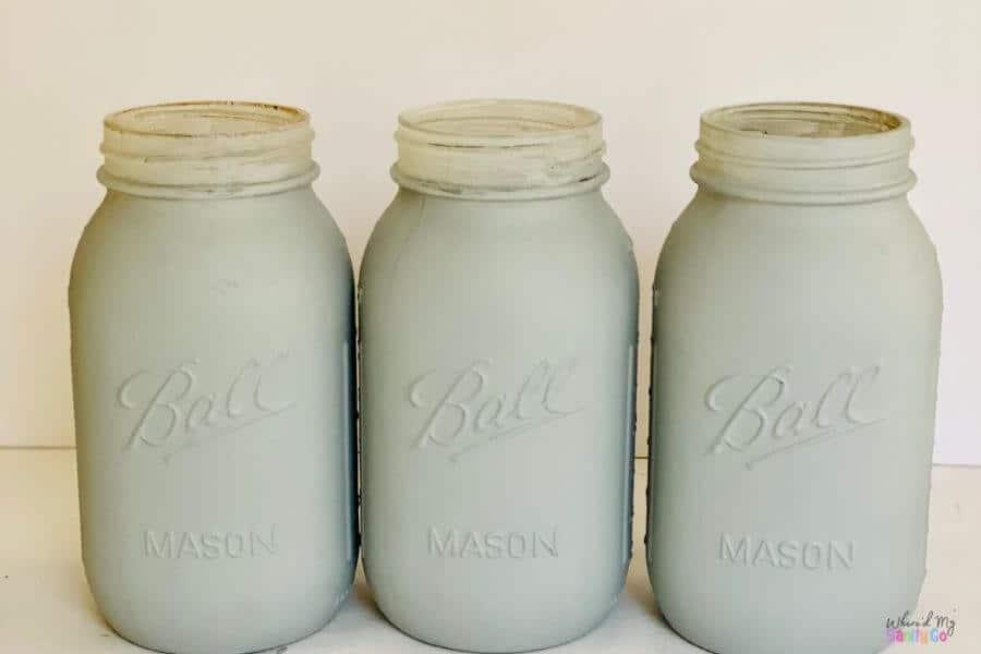 Gray Mason Jars Painted