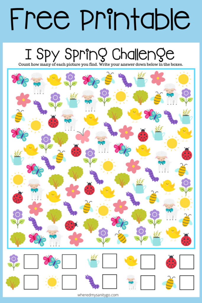 I Spy Spring Printable Activity To Help Learn Colors