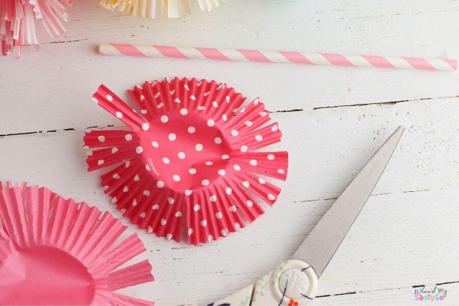 cupcake liner flowers step 1