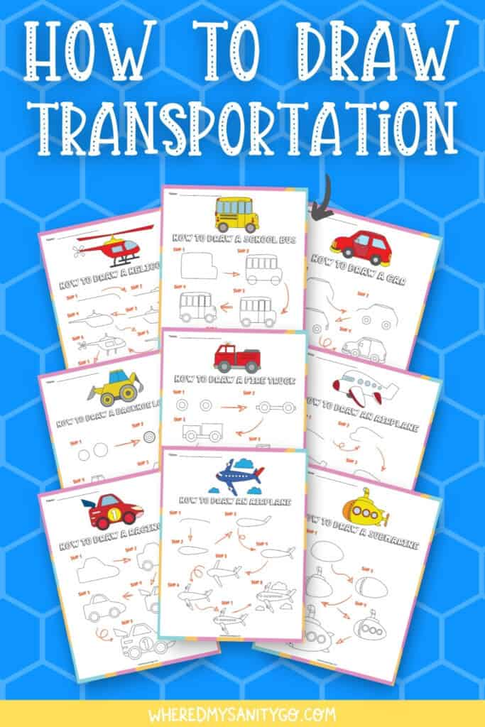 collage of free printables that show how to draw vehicles step by step with text how to draw transportation